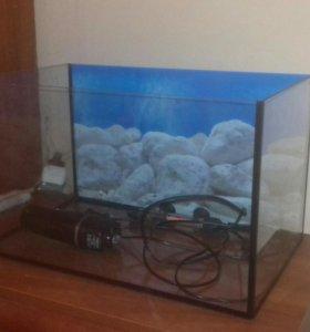 аквариум с фильтром и обогревателем