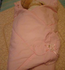 Одеяло-конверт для новорожденной девочки
