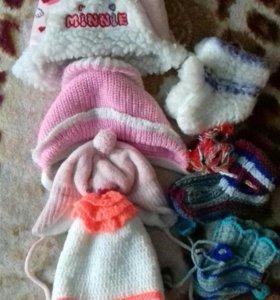 Детские шапочки+пинетки в подарок