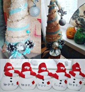 Изделия ручной работы, елочки снеговики.