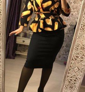 Блузка с баской 42-50 размеры
