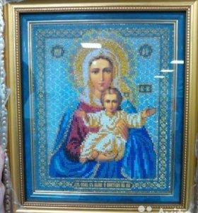 икона Леушинской Богоматери с младенцем (бисер)