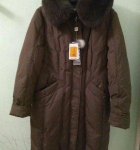 Пальто зимнее с натуральным пухом и писцовым ворот