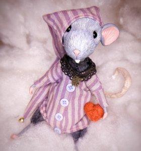 """Авторская игрушка"""" Сонный крыс Даррелл"""""""