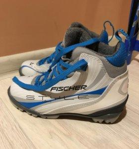 комплект беговые лыжи, крепления, ботинки, палки