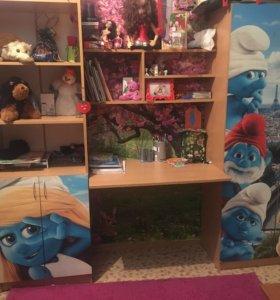 Детский шкаф+стол+стеллаж