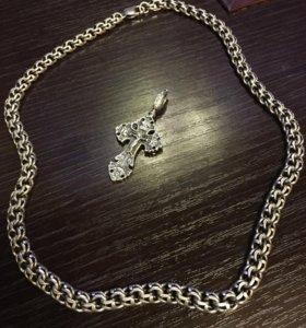 Цепь серебро+ крест