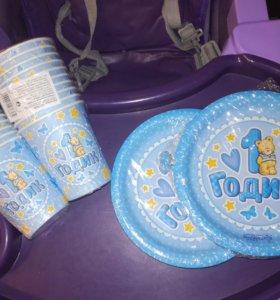 Бумажные тарелки и стаканы на 1 годик