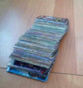 Карточки человек - паук, имеются редкие. 224 шт.