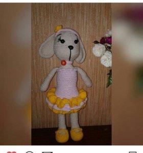 Вязанная игрушка собачка Шурочка