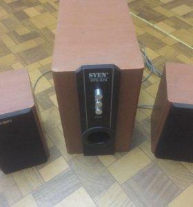 Колонки 2.1 деревянные Sven SPS-820 отличный звук