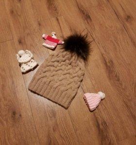 Детская шапка из альпаки, помпоном-натуральный мех