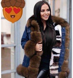 ❄️Джинсовая куртка из меха
