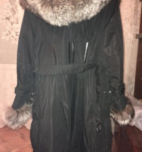 Куртка плащефка натуральный мех чернобурка