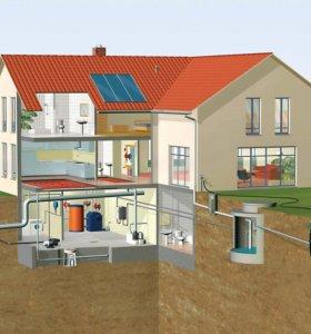 Установка канализации отопления водоснабжения