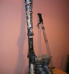 Горные лыжи + ботинки + палки