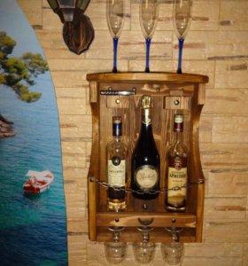 Полка для вина и бокалов