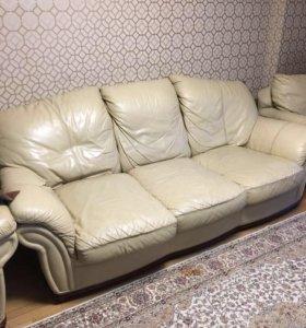 Диван и 2 кресла (кожа)