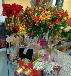 Цветы,букеты и конфеты
