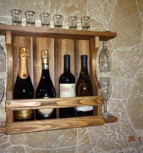 Полка для вина и бокалов на четыре бутылки