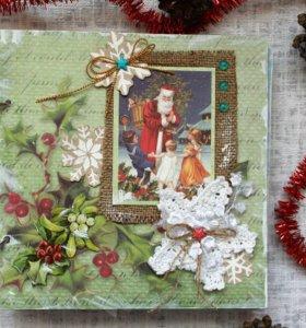 Скрапбукинг Новогодний фотоальбом ручной работы
