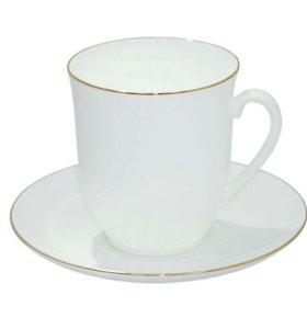 Чайные пары, фарфор (блюдце и чашка), 4 комплекта