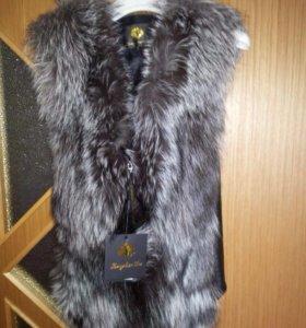 Чернобурка натуральная жилетка