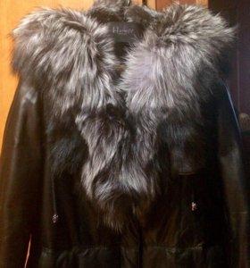 Зимнее кожаное пальто-пуховик