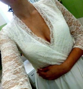 Платье гипюровое в пол. Новое.
