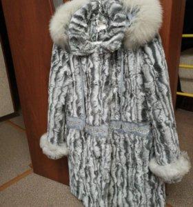 Пальто новое ТОРГ демисезонное меховое р—р 140