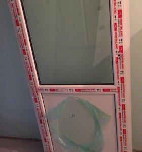 Дверь пластиковая новая + окно
