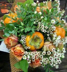 Необычные букеты из цветов фруктов и овощей