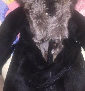 Шуба кролик ,капюшон чернобурка