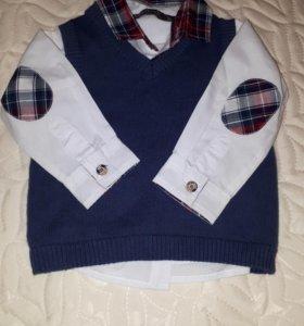 Комплект для мальчика(рубашка и жилетка)