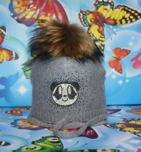 Зимняя шапка на завязках Ocean Angel Grey Panda