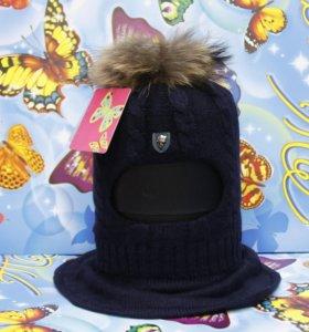 Шлем шапка зимняя для мальчиков Ocean Angel Blue