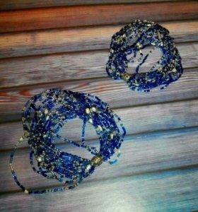 Винтажные парные браслеты с натуральным жемчугом