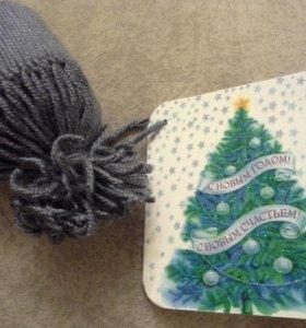 Подарок шапочка на бутылку и открытка