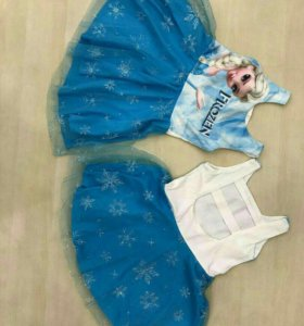 Нарядные платьица со снежинками и мультом
