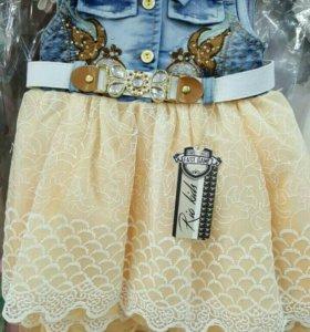 Очень красивые платья джинс с кружевом