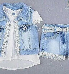 Шикарные джинсовые костюмы тройки на девочек