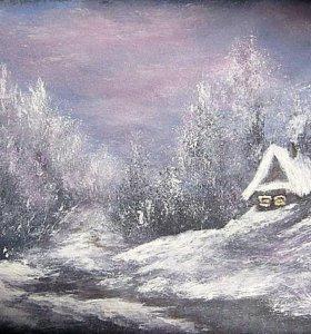 """""""Зимняя сказка"""", картина гуашью"""