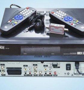 Ресивер на 2 телевизора Gi S6126 Multiroom.+карта