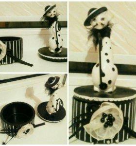 Сувенир шкатулка кошка из керамики