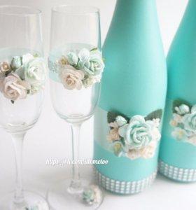 Свадебные бокалы,свадебные аксессуары