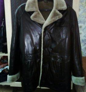 Кожаная зимняя куртка 52-54