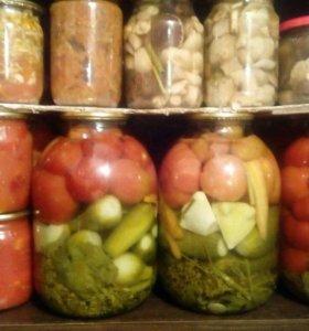 Помидоры, огурцы, грибы и салаты!!!