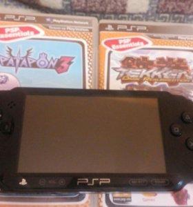 PSP 3 + 4 диска + карта памяти 8 ГБ + зарядное уст