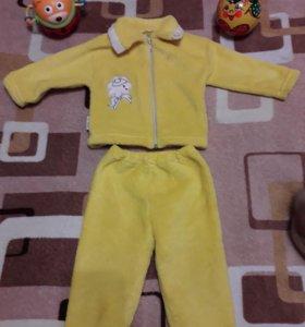 Плюшевый теплый костюм 62-68
