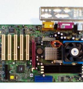 Материнская плата + процессор + кулер Socket А